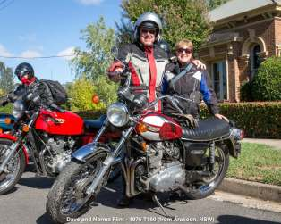 Dave and Norma Flint - 1975 T160 (from Arakoon, NSW)