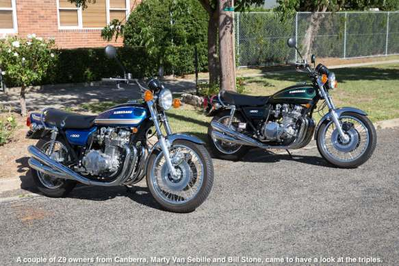 A couple of Z9 owners from Canberra, Marty Van Sebille and Bill Stone, came to have a look at the triples.